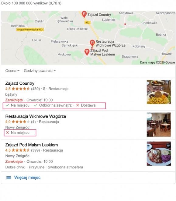 alt= Wynik wyszukiwania lokalnego w wyszukiwarce Google