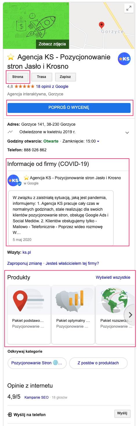 Widok wizytówki firmy w wyszukiwarce Google